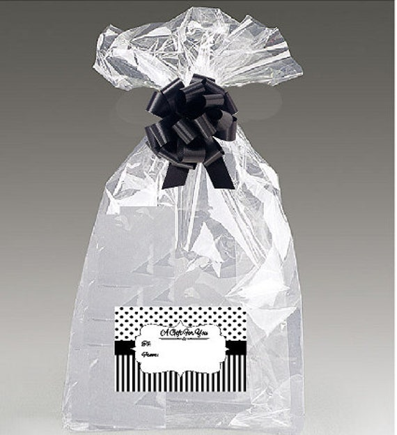 2pack 30x 40 Cellophane Gift Basket Bags with Bow and Black and White Stripe Stickers
