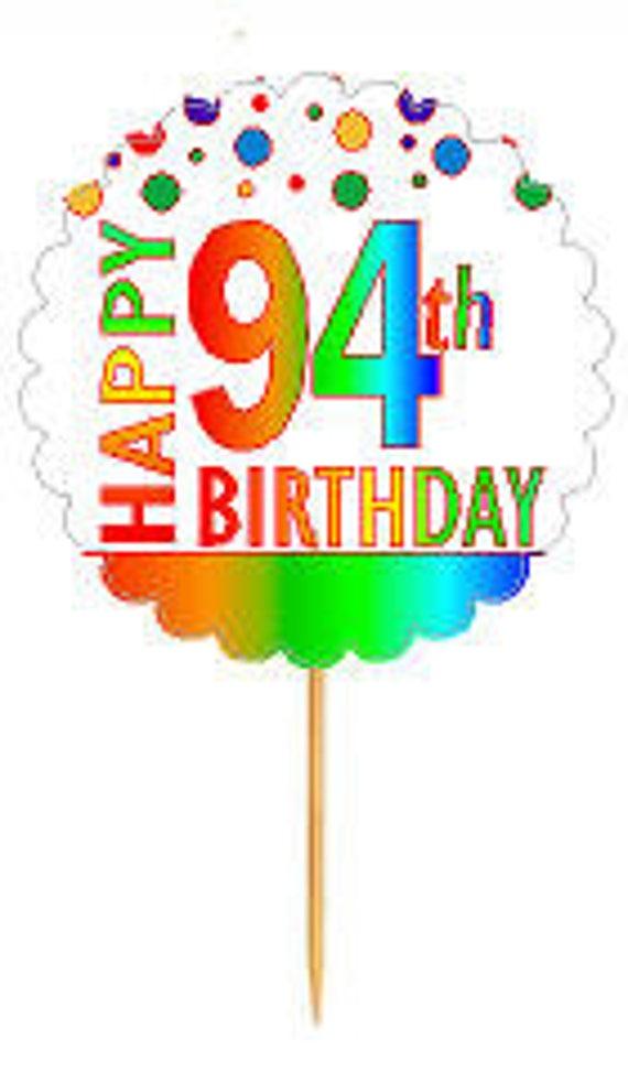 Happy 94th Birthday Rainbow Cupcake Decoration Topper Picks