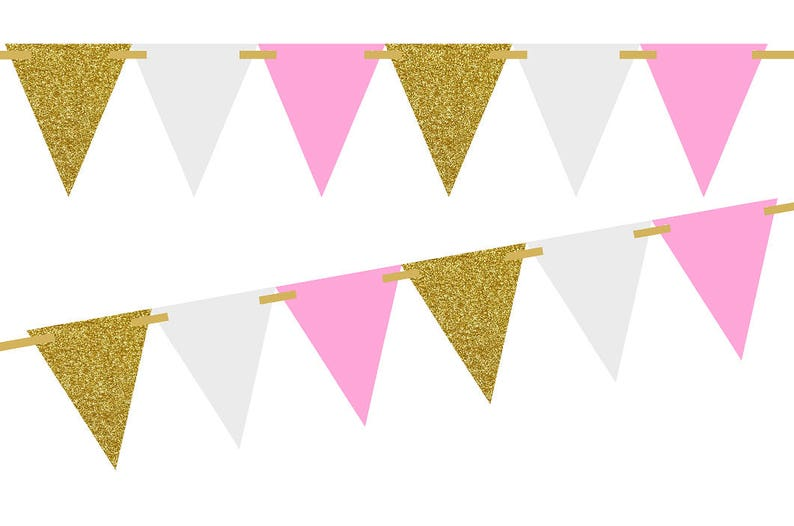 Sparkly Paper Pennant Banner Triangle Flags Bunting Birthday Party Decorations R