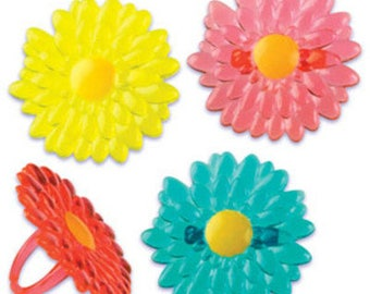 24pack Gerbera Daisy Cupcake Decoration Topper Rings w. Stickers & Sparkle Flakes