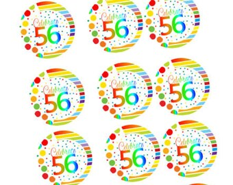 Item#RE3-057 Happy 56th Birthday 3inch Rainbow Edible Cupcake / Cookie Frosting Image Toppers -12ct