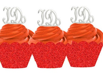 12pk I Do Wedding Bridal Shower Cupcake Toppers w. Red Glitter Wrappers