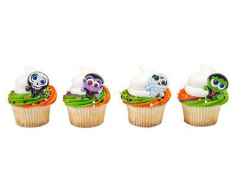 24pack Classic Monster Cupcake Decoration Topper Rings w. Stickers & Sparkle Flakes