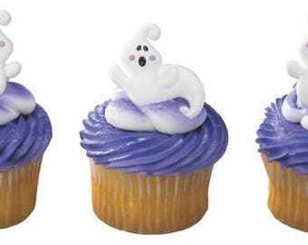 24pack Friendly Ghosts Cupcake Decoration Topper Rings w. Stickers & Sparkle Flakes