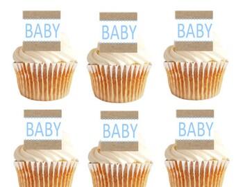 12pk Baby Shower Baby (Boy) Brown/Blue Cupcake Decoration Picks