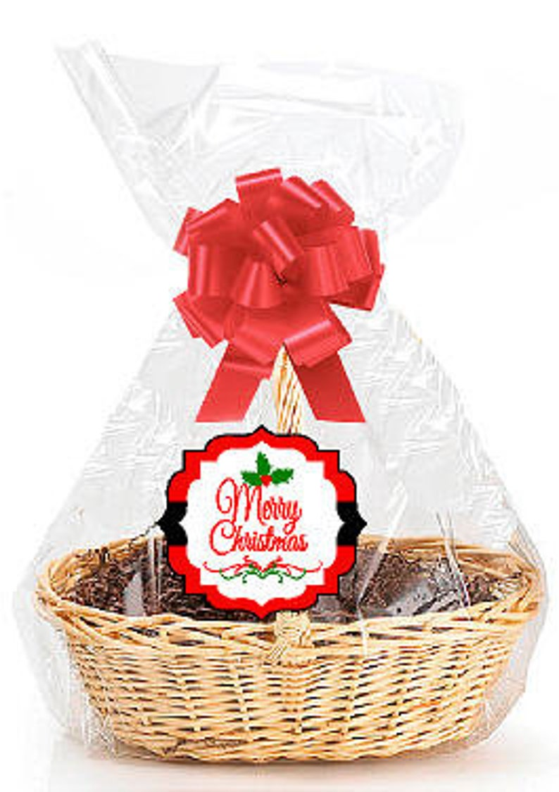 Merry Christmas 2pack Designer Cello Bags Tags Bows Cellophane Extra Large Gift Basket Packaging Bags Flat 25 X 30