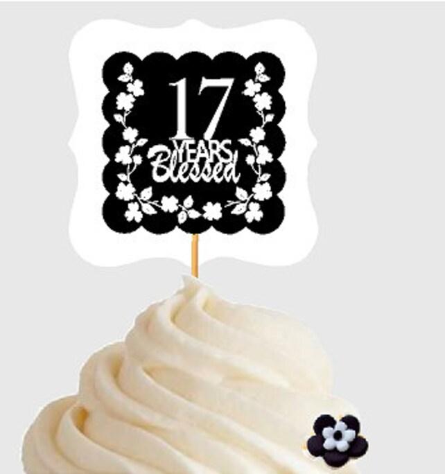 17th Birthday Anniversary Blessed Years Cupcake Decoraton Topper Picks 12pk