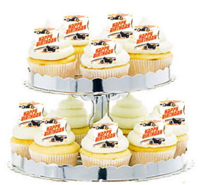 12pk Motorcycle Bike Happy Birthday Cupcake Decoration