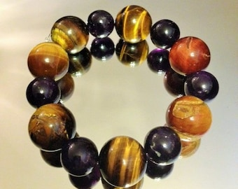 8 Inch Mens Golden Tiger's Eye and Amethyst Stretch Cord Bracelet (Protection,Creativity,Balance) Reiki Charged!