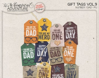 Tags, Father's Day, Digital Download, Printable Collage Sheet, Gift For Him, DIY Printable Tags, Printable Labels, Gift For Dad Idea