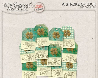 Printable Gift Tags for St Patrick's Day, Lucky Charm, Good Luck, Lucky Day, Digital Collage Sheet, Instant Download, Labels, Emerald Green