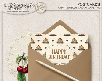 Happy Birthday Card, Printable Postcard For Him Or Her, Instant Download, Vintage Cherry Cake