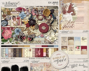 Bookworm Gifts For Bibliophiles Library Card Instant Download Ex Libris Once Upon A Time Book Lover Digital Scrapbook Kit