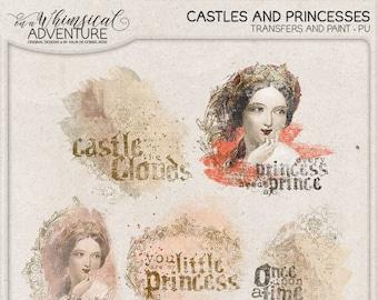 Digital scrapbooking, digital download, scrapbook elements, overlays, transfers, vintage ephemera, fairytale, princess, castle, wordart