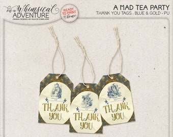 Mad Tea Party Decorations, Printable, Gift Tags, Mad Hatter, Blue And Gold Baby Shower, White Rabbit, Alice In Wonderland, Instant Download