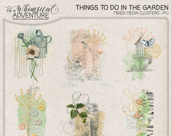 In The Garden Nature Inspired Overlays Instant Download Digital Scrapbooking Embellishments Outdoor Activities For Gardener
