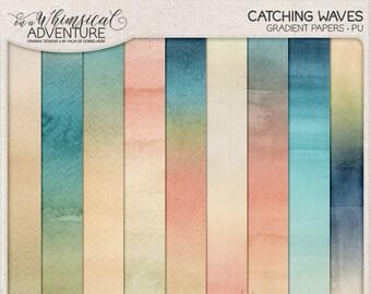 Ombre Digital Paper, Gradient Set, Watercolor Texture, Instant Download, Beach Vacation, Sea Shore, Beach Photo Album, Scrapbook Paper Pack