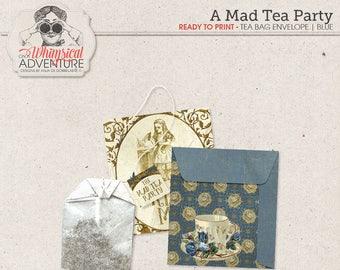 Alice In Wonderland printable tea bag envelopes, party printables, printable collage sheet vintage mad tea party digital download