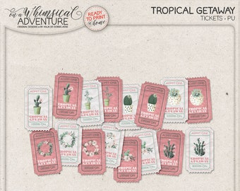 Admit One Tropical Party Cacti And Succulent Printable Tickets Invitations Numbered Raffle Hawaiian Invite