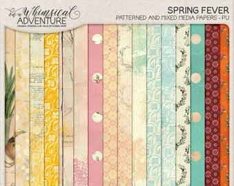Spring Pack Paper, Spring Pattern Paper, Floral Pattern, Spring Bulbs, Vintage, Scrapbook Album, Digital Paper Pack, Instant Download