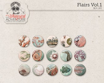 Flairs, Sea Life, Vintage Sea Creatures, Digital Flair Buttons, Digital Scrapbooking Embellishments, Instant Download, Seahorse, Coral, Fish