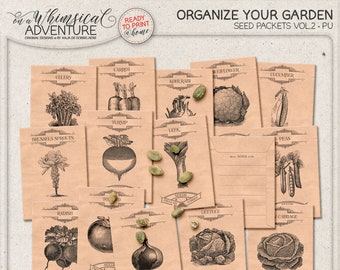 Harvesting Seeds From Vegetables, Seed Savers, Digital Collage Sheet, Instant Download, Printable Seed Envelope, Harvest, For The Garden