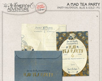 Alice In Wonderland Tea Party Invitation, Mad Tea Party Ideas, Printable Envelope, White Rabbit, Blue And Gold Baby Shower, Instant Download