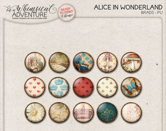 Cute Flairs, Cheshire Cat, Alice In Wonderland, Digital Brads, Flair Buttons, Instant Download, Printable Collage Sheet, Scrapbook Elements