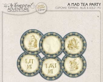Printable Alice In Wonderland cupcake toppers, party printables, printable collage sheet, tea party, vintage mad tea party digital download