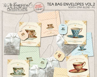 DIY Gifts For Friends, Gift For Tea Lover, Tea Time, Shabby Chic Tea Packets, Dot Pattern Paper, Tea Labels Printable, Tea Bag Envelopes