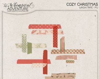 Shabby Christmas, Washi Tape Set, For The Holidays, Digital Scrapbook Elements, Red and Green, Instant Download, Deer, Stripes, Snowflakes