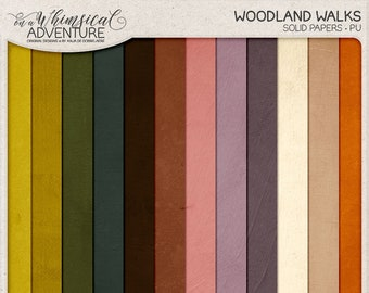 Woodland, Autumn Backgrounds For Scrapbooking, Instant Download, Fall Scrapbook Paper, Autumn Color Palette, Solid Paper Backdrop