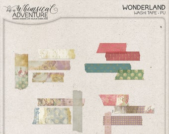 Wonderland Digital Washi Tape, Instant Download, Digital Scrapbooking Embellishments, White Rabbit, Mad Hatter, Alice, Gold Patterned Tape