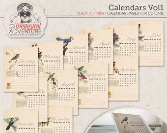 CD Case Calendar With Vintage Designs, Printable Calendar Pages 2018, DIY Calendar 2018, 2018 Bird Calendar, Bird Lovers Gift, For CD Case
