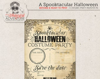 Halloween Costume Party Printables, Instant Download, Party Invitation, Digital Collage Sheet, Victorian Style, Skull, Kids Party Ideas