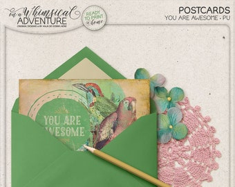 Tropical Print, Parrot, Digital, You Are Awesome, Printable Greeting Card, Instant Download, Grungy Vintage Postcard, For Him, For Her
