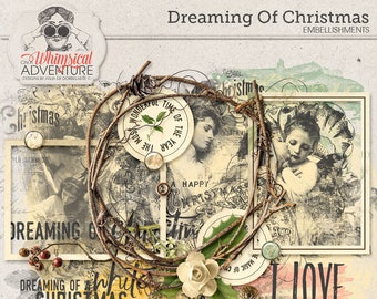 Dreamy Christmas, Romantic Scrapbook Elements, Digital Download, Winter, Magical Christmas, Vintage Ephemera, Angels, Branches and Berries