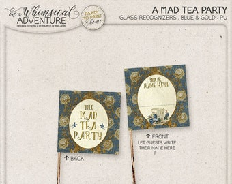 Printable Party Straw Flags, Wonderland Tea Party, Digital Download, Printable Collage Sheet, Blue and Gold Alice Party Decor, Mad Tea Party