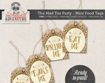 Mad Tea Party Decorations, Gold And Pink Party Decorations, Mad Hatter Tea, High Tea, Instant Download, Food Labels, Tags, Drink Me Eat Me