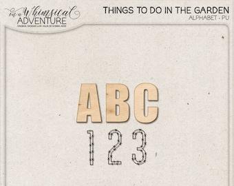 Wooden Alphabet, Instant Download, Digital Alpha, Wooden Letters and Numbers, Chicken Wire, In The Garden, Digital Scrapbooking Elements