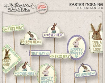 Easter Egg Hunt, Lawn Games, Easter Printables, Party Supplies, Happy Easter, Instant Download, Digital Collage Sheet, Easter Bunny Sign
