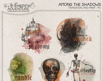 Chandelier, Skull and Skeleton, Spooky Halloween Rub-on Digital Overlays, Digital Scrapbooking, Instant Download, Paint, Something Wicked