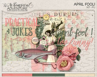 April Fools, Play Pranks, Instant Download, Digital Scrapbooking Kit, Practical Jokes, Poisson d'Avril, Goldfish, Paper Pack, Embellishments