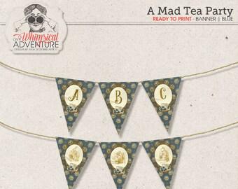 Printable Alice In Wonderland party banner, party printables, printable collage sheet, tea party, vintage mad tea party digital download