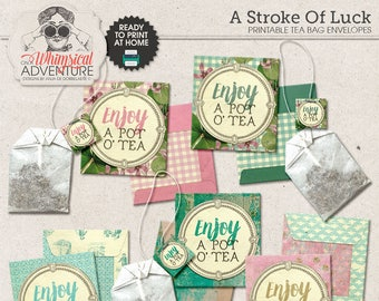 Tea Bag Holder, Printable Tea Bag Envelope, St Patty, St Patrick's Day, Digital Collage Sheet, Instant Download, Irresistible Pot O' Tea