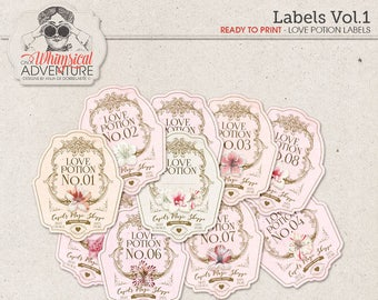 Wedding Decor, Floral Bottle Labels, Valentine Gift, Gift For Him, Gift For Her, Pink And Gold, Party Supplies, Love Potion Labels Printable