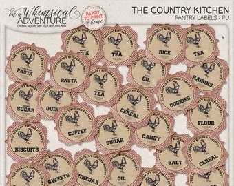 Farmhouse Style, Pantry Organization, Printable Kitchen Jar Labels, Instant Download, Digital Collage Sheet, Vintage Rustic Kitchen Decor