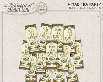 Wonderland Printable Coupons, Mad Tea Party Ticket Invitation, Instant Download, Digital Collage Sheet, Gold and Blue Raffle Tickets