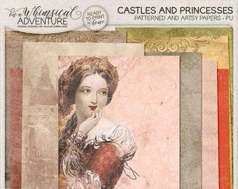 Printable digital scrapbook papers, letter size patterns, digital download, fairytale, romantic story, prince, princess, castle, damask