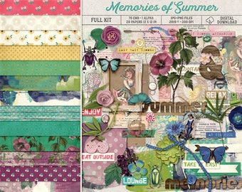 Tropical Decor, Summer Scrapbook Kit, Floral Digital Papers, Vintage Feel, Hand Painted, Shabby Textures, Lazy Hazy Days